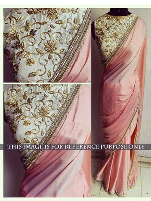 NEW LATEST PEACH COLOR LAYCRA SILK GEORGET EMBROIDERY WORK SAREE Sarees on Shimply.com