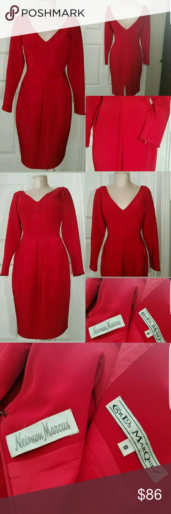 NEIMAN MARCUS 100% SILK CRIMSON V-NECK Midi Dress Up for sale NEIMAN MARCUS 100% SILK CRIMSON RED V-NECK SHEATH MIDI DRESS CARLOS MARQUEZ.  CARLOS MARQUEZ Neiman Marcus  SIZE 8  100% Silk Dress   Pre-Owned,gently preloved. Shows slight signs of wear...please refer to pictures. Neiman Marcus Dresses Midi