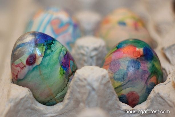 Tie-dye looking Easter eggs using Sharpies from Housing a Forest