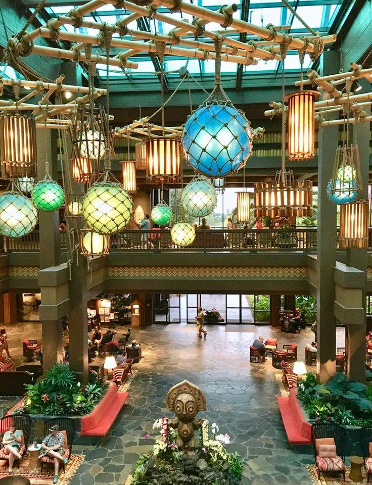 Awesome lighting  Lobby at Disney's Polynesian Village Resort in Walt  Disney World