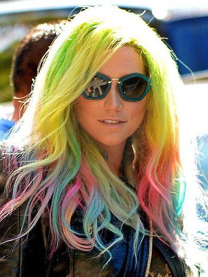 Ke$ha rocks neon rainbow hair color