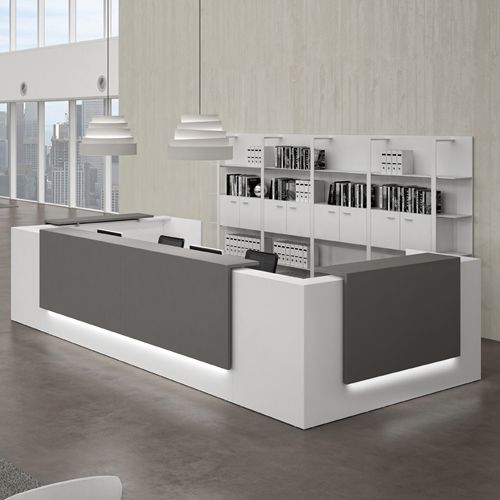 Reception Desks - Contemporary and Modern Office Furniture This gray for the reception desk