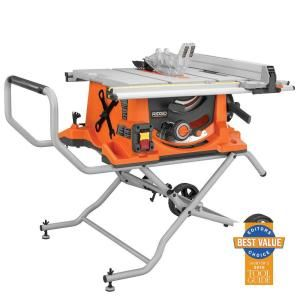 RIDGID R4510 10 in. 15 Amp Heavy-Duty Portable Table Saw with Stand