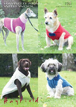 Hayfield 7261 Dog Coats for small, medium, and large dogs. Knit in  Aran/Worsted (#4) weight yarn.