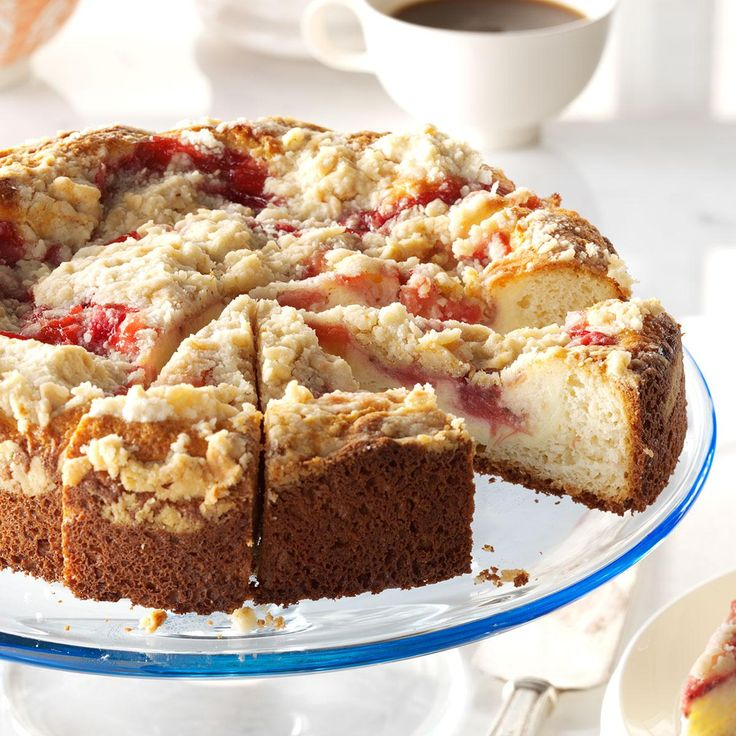 Rhubarb & Strawberry Coffee Cake Recipe -Vanilla cake with cream cheese filling and strawberry rhubarb sauce makes a grand finale for a Mother's Day brunch. That's how we honor moms and their moms. —Danielle Ulam, Hookstown, Pennsylvania
