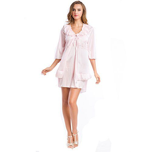 JXS Womens Pink Strap Dress Wrap Set Babydoll Nightwear * Check out the image by visiting the link. Note: It's an affiliate link to Amazon.