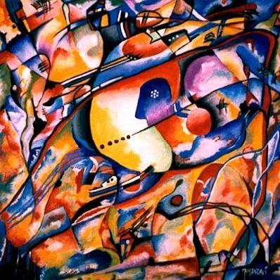 COMPOSITION AUTOMNALE (Peinture Vinylique sur Papier-Disponible) (Peinture),  30x30 cm par H . Mortazavi ( Hommaga au dieu de la musique VIVALDI - 3ème saison ) Automne: Une composition plain de chaleur et vivacité, un bain de couleurs à découvrir.