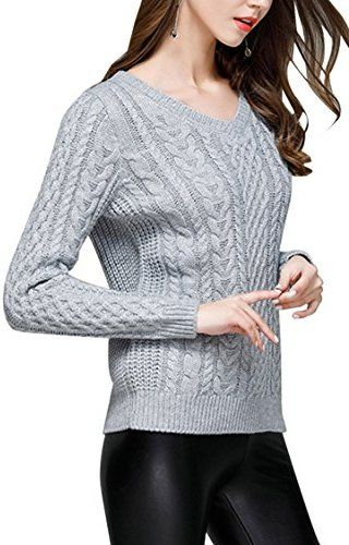 Sovoyant Women's Irish Sweaters Cable Knit Casual Pullovers Long Sleeve