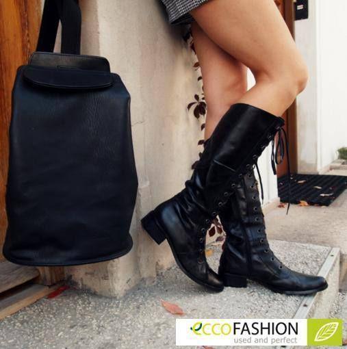 Długie, czarne oficerki i plecak, który doskonale dopasowuje się do ciała to must have na jesienne wyprawy! Klasycznie, prosto, elegancko i wygodnie - to tak jak lubimy najbardziej! #jesien #inspiracje #moda #fashion #stylizacje #eccofashion #ecco #eko #style #clothes #bag #listopad