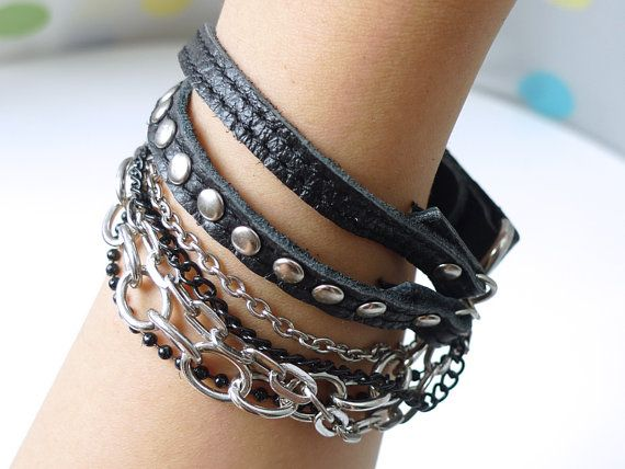 Chic Black Leather Bracelet With Rivets and by ACuteCute on Etsy, $8.00