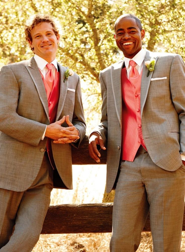 brown tuxedos with coral to match the coral bridesmaid dresses