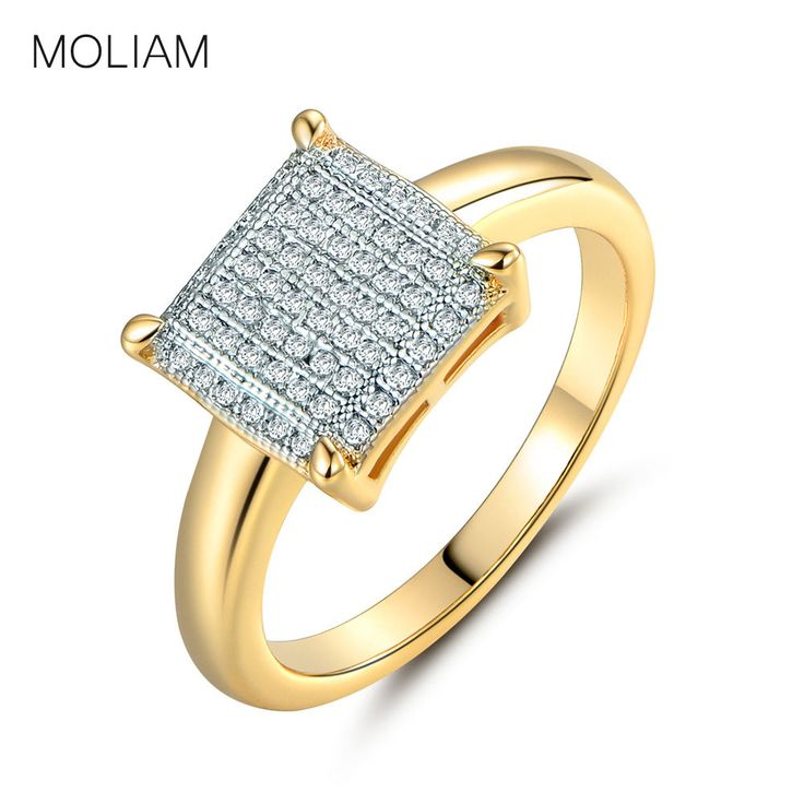 MOLIAM Fashion Wedding Rings for Women Gold  Plated Crystal Cubic Zirconia Square Shape Ring Jewelry MLR229