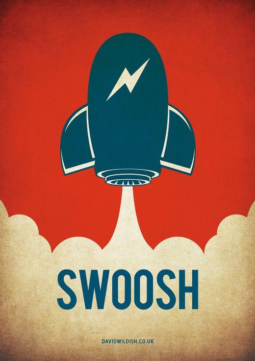 Swoosh Vector Rocket Illustration - By David Wildish 2012
