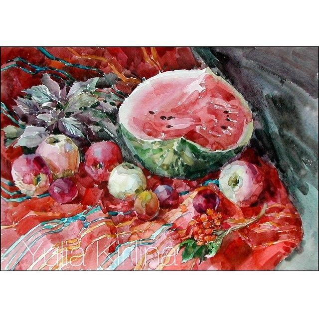 Красный натюрморт#акварель #натюрморт #живопись #stillife #aquarelle #watercolor #art #yulia_kirilina #autumn#red