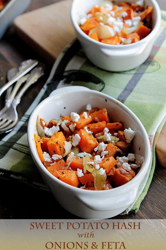 Sweet Potato Hash with Onions and Feta | Try with Traders Point Creamery's Farmstead Feta. 100% grassfed milk is a powerful combination with the rich Vitamin A in sweet potatoes