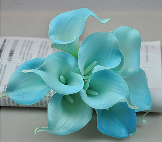 Pool Blue Calla Lily Bouquet Wedding by HandcraftsInStudio on Etsy