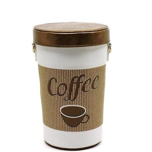 Coffee Cup Vegan Faux leather Purse (£25) ❤ liked on Polyvore featuring bags, handbags, brown purse, coffee bags, vegan bags, vegan hand bags and vegan leather handbags