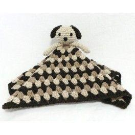 Perrito con cuerpo de manta, hecho en ganchillo.