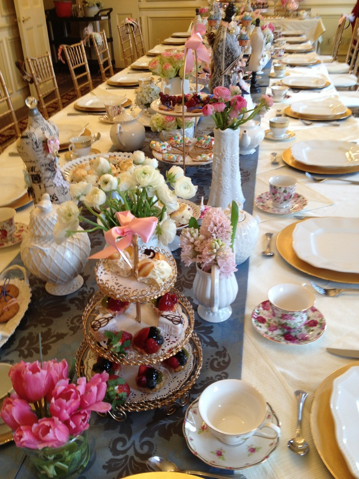 Table Set Up For High Tea Party Tea Party Pinterest