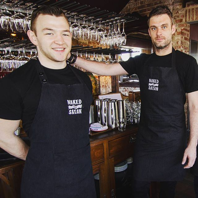 Looking for great waiters aprons. Want to look as good as the best! We loved supplying Naked for satan in their customised waiter wear #Nakedforsatan #waitersaprons #ready2rock #lookingsexy #bestbarmelbourne #nakedinthesky #pinstripe #waiters #waiterwear