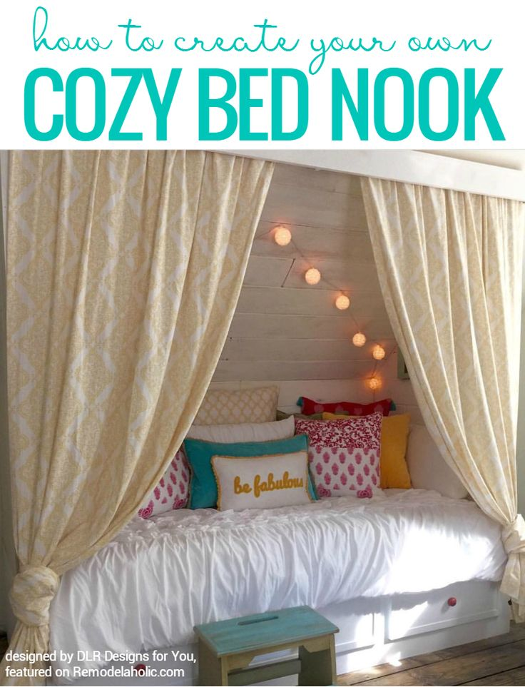 Get This Look - how to create your own cozy bohemian style reading nook, from building the built-in storage bed nook to decorating it @Remodelaholic
