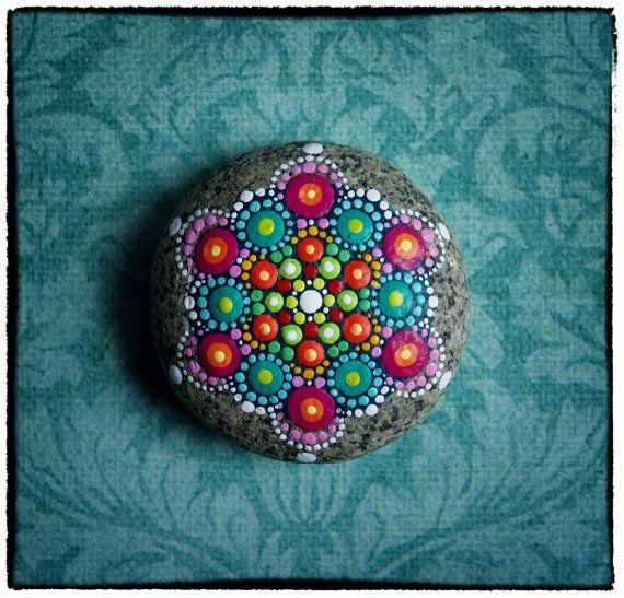 Jewel Drop Mandala Painted Stone- Princess Jewel ...