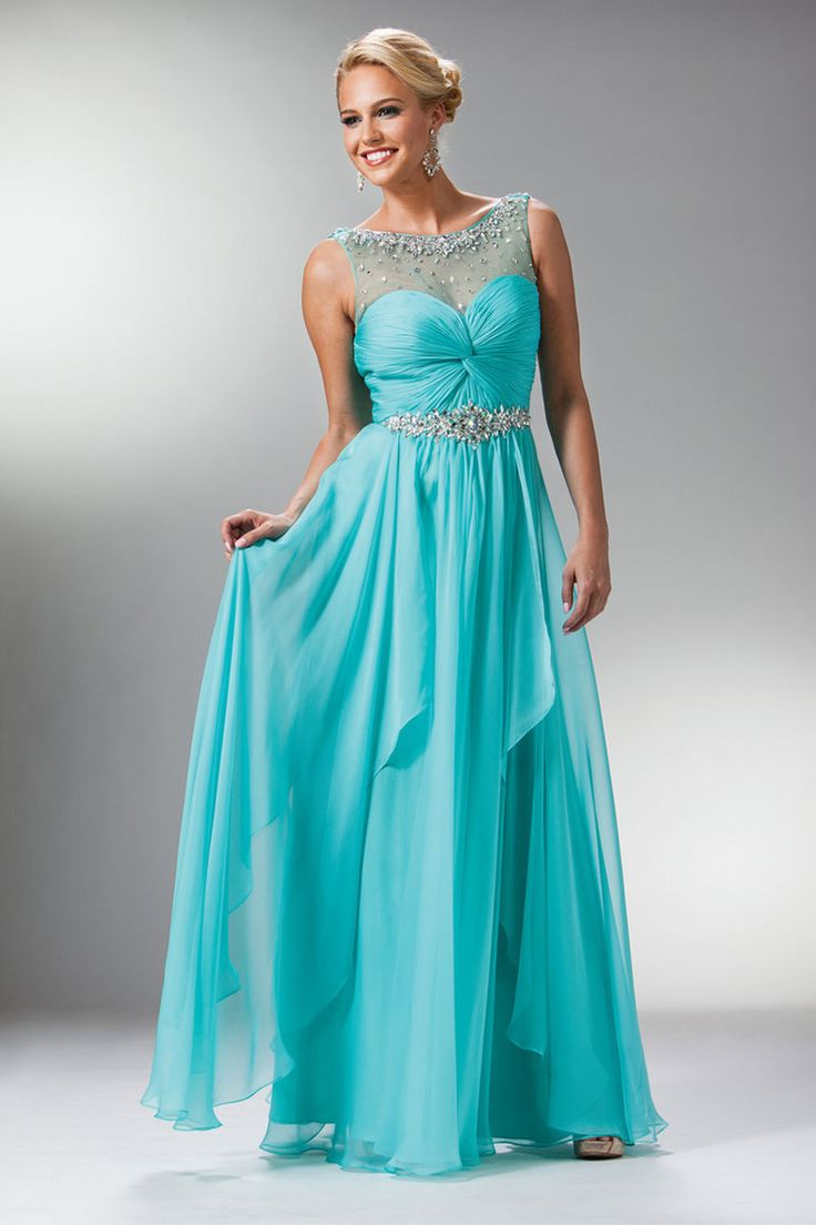 2014 Beaded Scoop Neckline Fitted And Pleated Bodice Pick Up Layered Chiffon Skirt