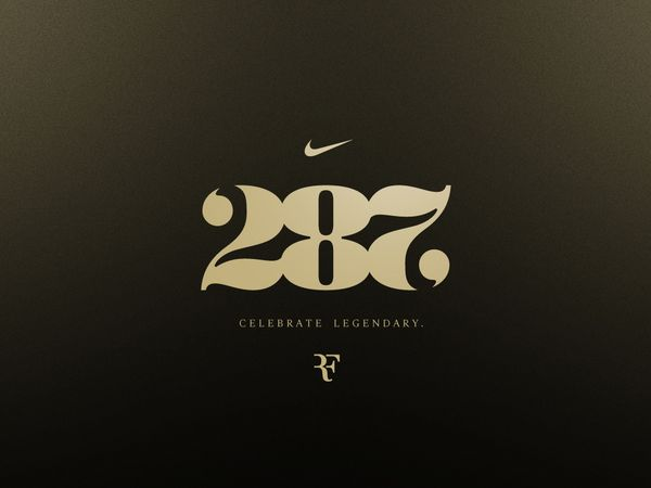 Roger Federer: Celebrate Legendary | Heather Amuny-Dey, creative direction. Peet Kegler, plaque design, additional design. | #typography