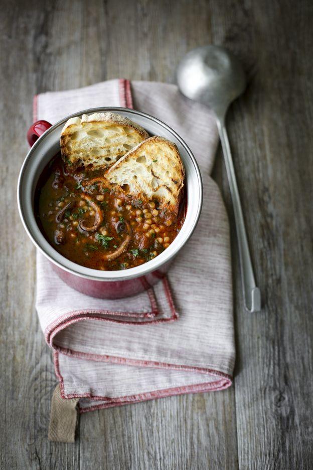 - VANIGLIA - storie di cucina: Zuppa con moscardini vino rosso e pomodoro