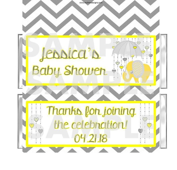 Personalized Chevron Yellow Gray Elephant Baby Shower