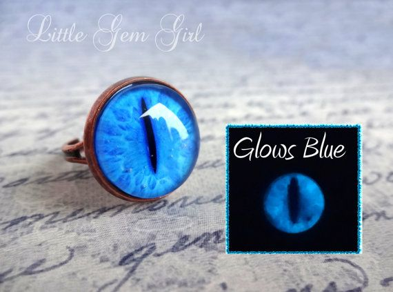 Glow in the Dark Cat Eye Ring - 24 Styles Available - Cat Eye Jewelry - Vintage Copper Antique Style Ring - Lizard Evil Eye Dragon Eye Ring