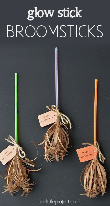 glow stick broomsticks - Easy Cheap Halloween Decorations