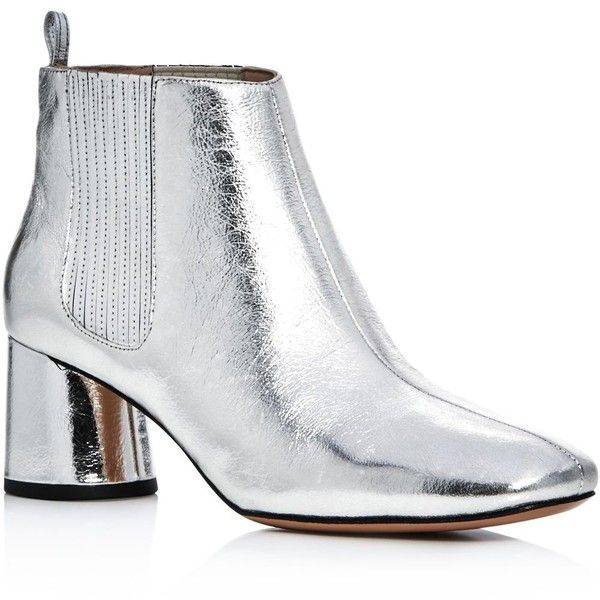 Marc Jacobs Metallic Rocket Chelsea Mid Heel Booties ($420) ❤ liked on Polyvore featuring shoes, boots, ankle booties, silver, mid-heel boots, mid heel booties, metallic booties, marc jacobs and silver metallic boots