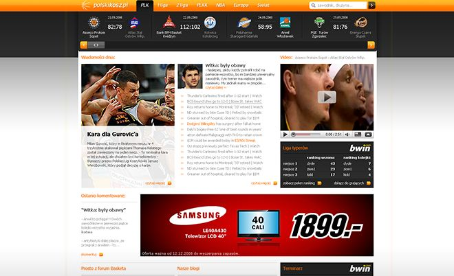 Polskikosz: New life breathed into a basketball website - Jamel Interactive interactive agency Gdansk, Tricity