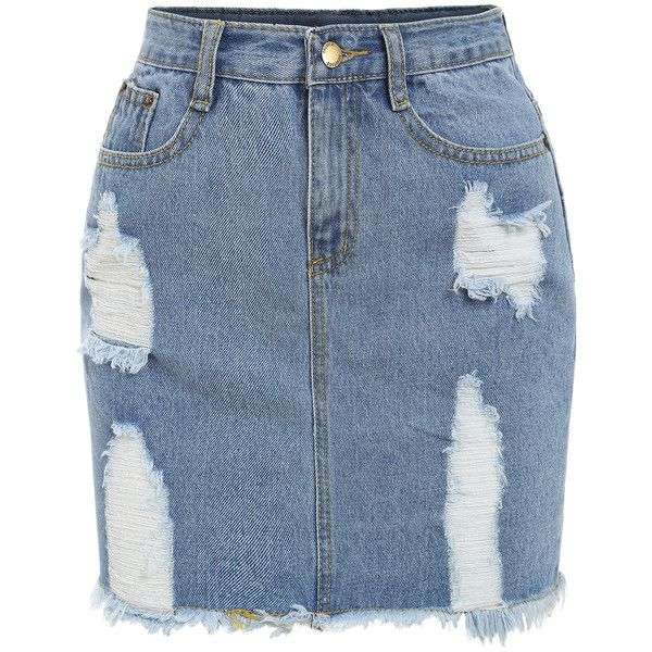 Frayed Denim Pencil Skirt (740 INR) ❤ liked on Polyvore featuring skirts, blue, denim skirt, short blue skirt, blue skirt, short skirts and knee length denim skirt