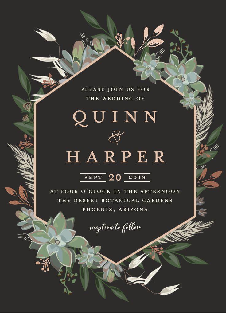 Succulent Surround Wedding Invitation Pinterest Wedding