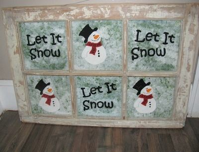 """This is a guide about making a """"let it snow"""" window frame. Old windows can be reused to make unique crafts for your home. Paint on a winter motif and you have an original holiday decoration."""