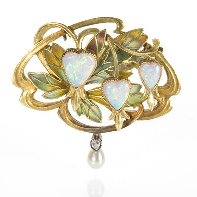 French Art Nouveau 18 karat gold brooch with 3 heart shape white opals accented by a freshwater pearl and diamond drop by Gaston Laffitte, c. 1900