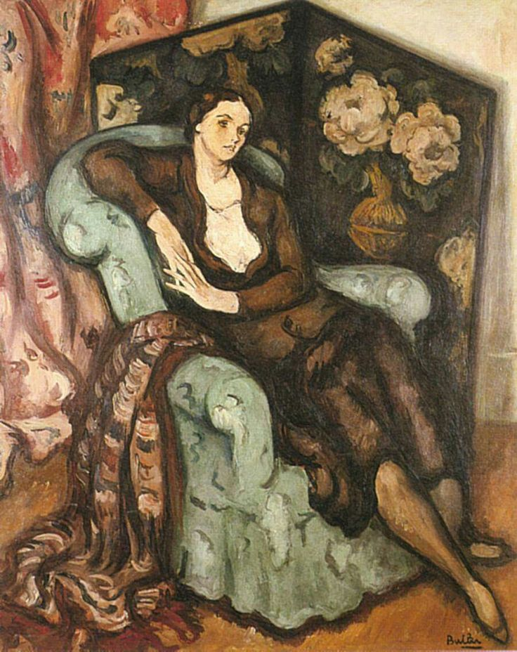 """Alberto Horacio Butler (1897 - 1983) Argentine artist and writer. His painting is dominated by the influence of André Lothe and Othon Friesz, combining the search for balance and formal clarity of Lothe, with the romantic trend Friesz. """"Portrait"""" 1930 Oil. Eduardo Sívori Museum. Buenos Aires."""