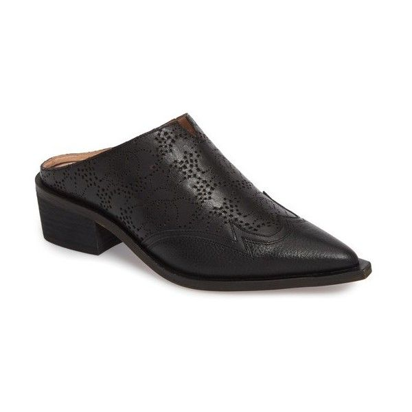Women's Linea Paolo Waylon Western Mule ($130) ❤ liked on Polyvore featuring shoes, black laser leather, perforated leather shoes, leather shoes, chunky shoes, black leather mules and black mule shoes
