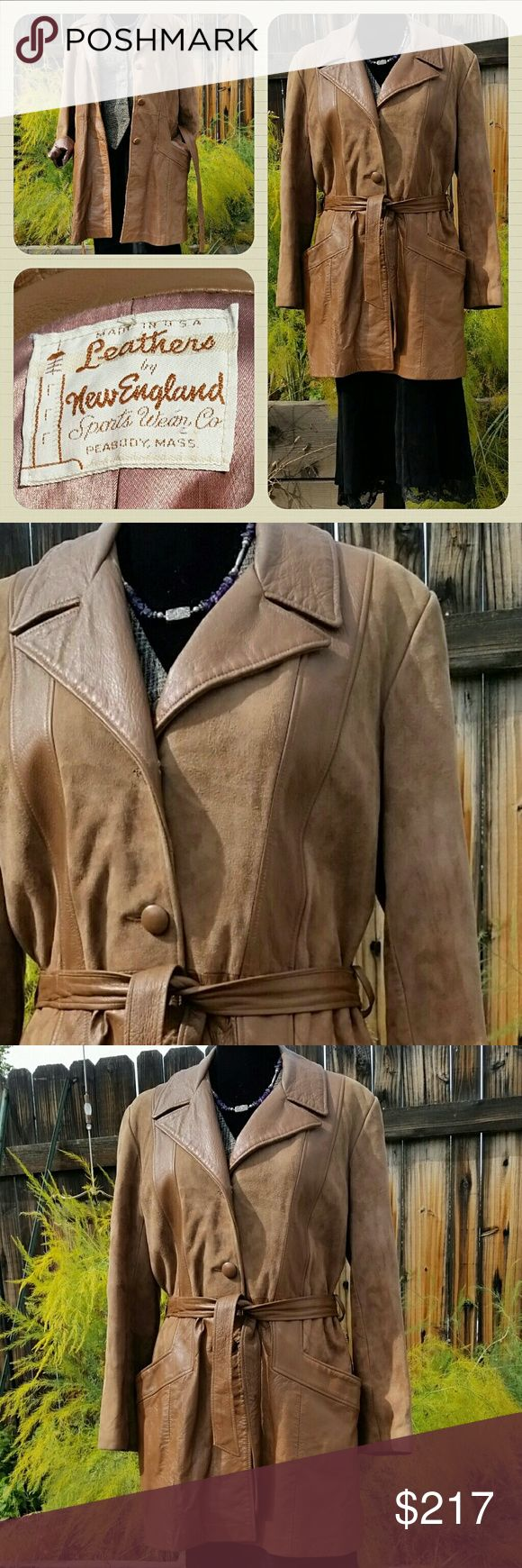 Vintage 60s Belted Suede Hippie Jacket Vintage 60s Suede Jacket Brown Leather Belted Coat Softest Suede Car Coat Haute Hippie Chic Boho Festival Desert Jacket 60s Mod Hippie Style. Exquisitely soft Suede with shiny leather accents.  Belted jacket from London / British High Fashion.   Beatles, Twiggy, and... in the U.S.?  Janis Joplin, Woodstock,  Summer of Love, San Francisco Flower Children ... The era of Love... Nostalgic style. Made by New England Sportswear Company in Mass, USA. No size…