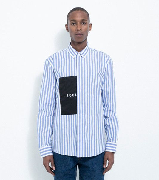 NEATHERALL BUTTON DOWN SHIRT WITH OVERSIZE SOULLAND LABEL · WHITE / LIGHT BLUE