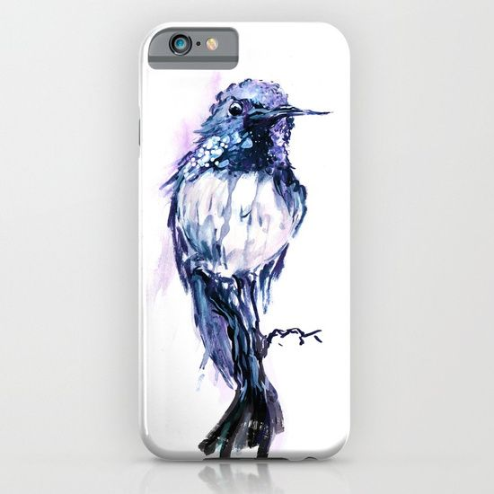 Cellphone case, painting  watercolor  ink  illustration   realism  bird  flower  hummingbird   forest  branch  wildlife