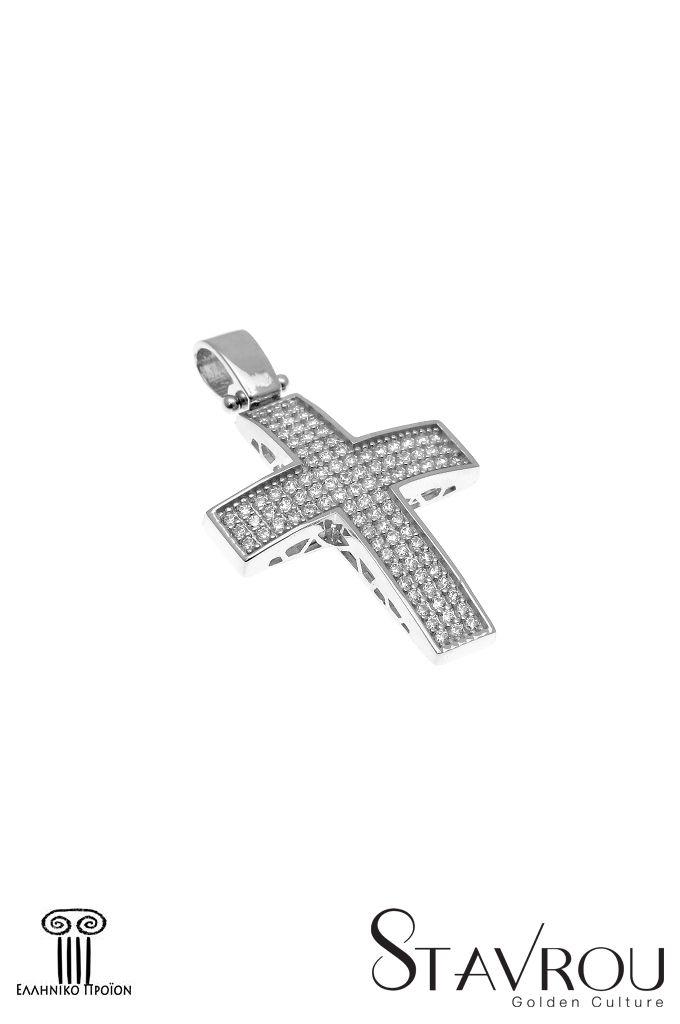 Γυναικείος σταυρός,με ζιργκόν, σε λευκό χρυσό Κ14  #σταυροί_βάπτισης #βαπτιστικοί_σταυροί #χειροποίητα_κοσμήματα #γυναικείοι_σταυροί  #σταυροί #σταυροί_με_ζιργκόν