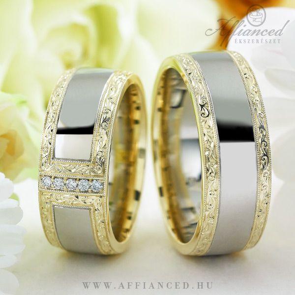 Barocco Bold No-9 karikagyűrűk - fehér és sárga arany jegygyűrű pár gyémántokkal.  http://www.affianced.hu/