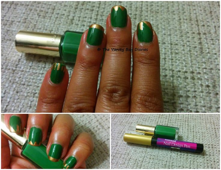 This Manicure Monday features Loreal Color Riche in '612 Green Couture' with some gold accent. As you can see I have been dabbling with the nail art pen, well its more of some scribbled over lines than art :)612 Green Couture is a beautiful, bright, creamy green color. I love how this green and gold