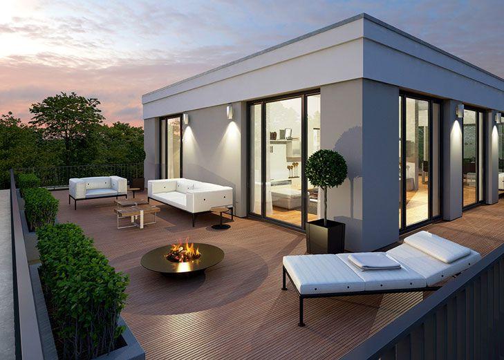 Ein besonderes Highlight ist die Penthouse-Wohnung mit ihrer großzügigen Dachterrasse und dem privaten Lift. Projekt Forster Straße 3 von der Kroner Bau Vertriebsgesellschaft mbH