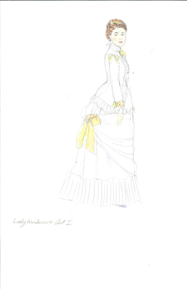 Meg Neville's costume sketch of Lady Windermere, Act 1