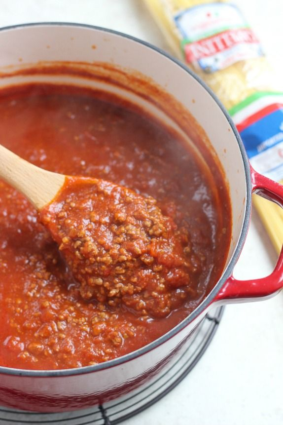 My family's classic homemade spaghetti sauce with ground beef, tomatoes and a secret ingredient - chili seasoning!
