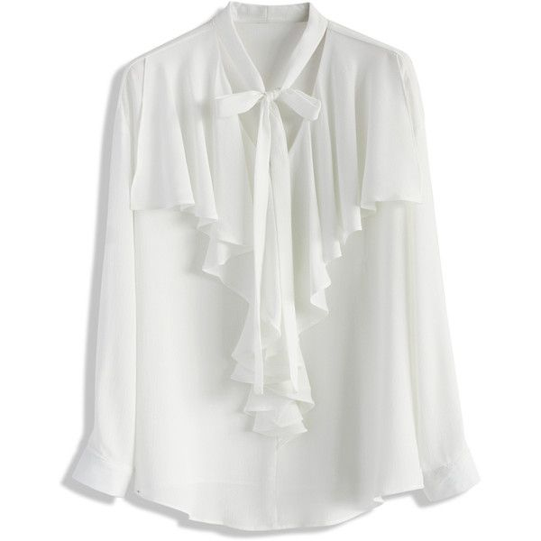 Chicwish Retro Frilling Chiffon Top in White (851.040 VND) ❤ liked on Polyvore featuring tops, blouses, white, bow blouse, chiffon blouse, dressy blouses, fancy blouses and white chiffon top
